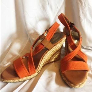 BANANA REPUBLIC Orange Canvas Strappy Wedges